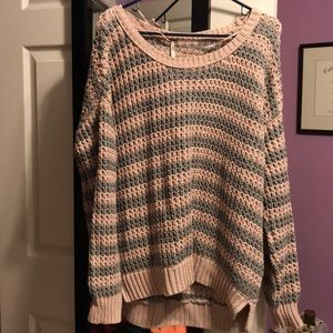 Pink and gray knit sweater